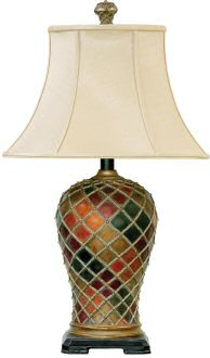 Fancy lamp base with plain shade