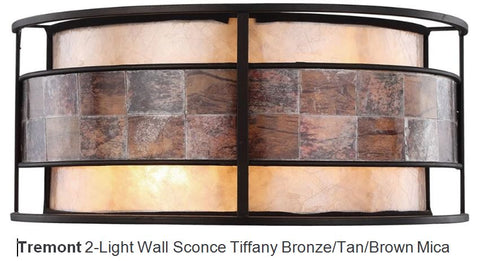 Tremont Tiffany Bronze Tan Mica Light Wall Sconce