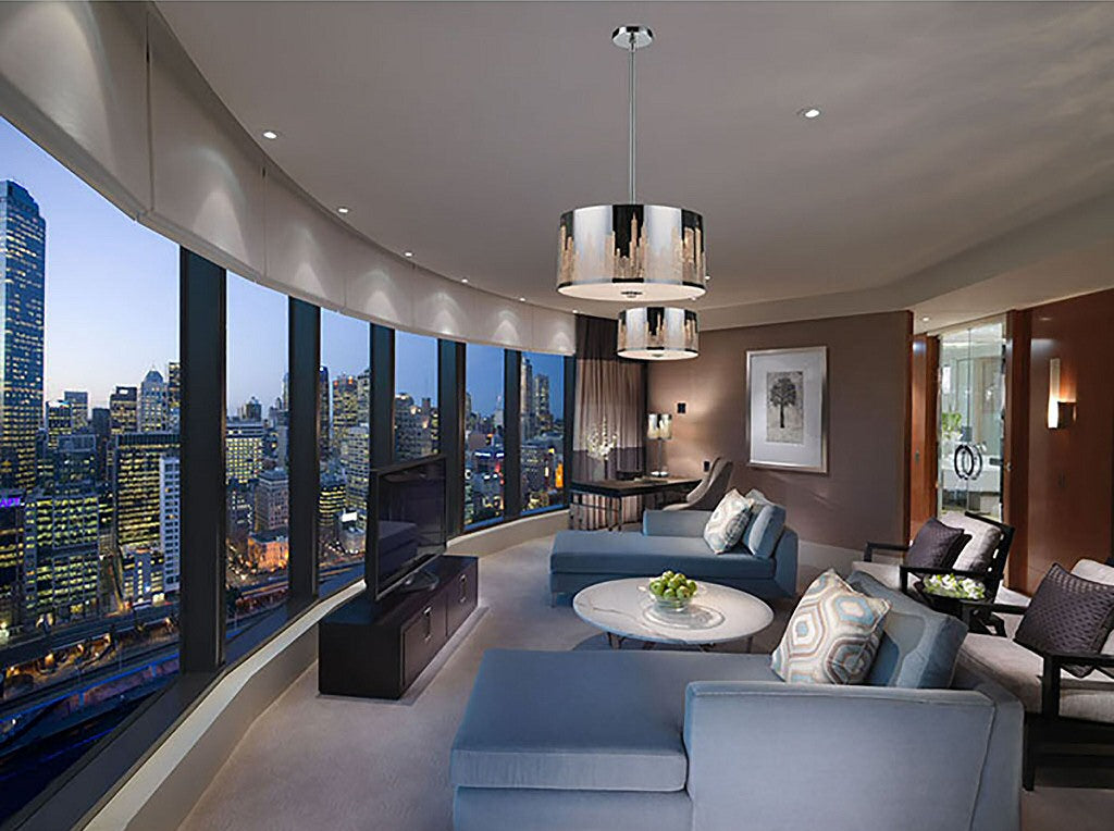 large stunning city living room with light fixtures