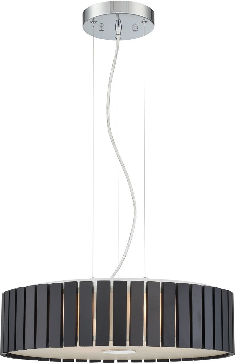 "19""W Maxwell 4-light Pendant  Chrome/coffee Wood Shade"