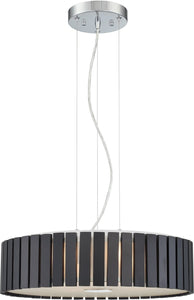 Lite Source Maxwell 4-light Pendant  Chrome/coffee Wood Shade