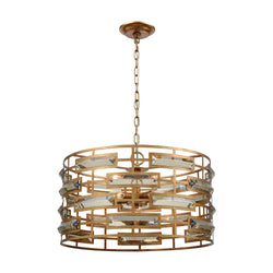 Elk Lighting 5-Light Gold Metro Crystal Pendant Gold Leaf/Clear Crystal