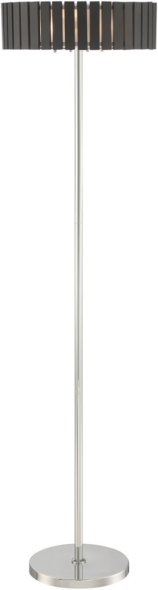 "62""H Maxwell 3-light Floor Lamp  Chrome/coffee Wood Shade"