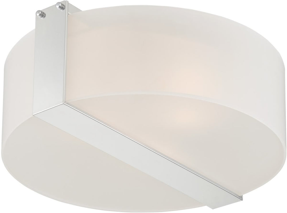 "18""W Rogina 3-light Flush Mount  Ps/frost Curved Glass Shade"