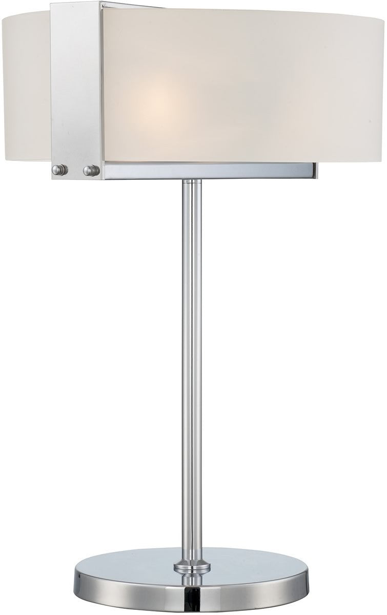 Rogina 3 Light Table Lamp Polished Steel Frost Curved Glass Shade