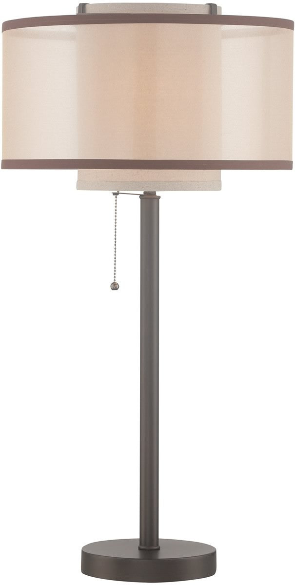 "29""H Fabrizio 1-light Table Lamp  D.brz/outer Gold Organza/inner Linen"