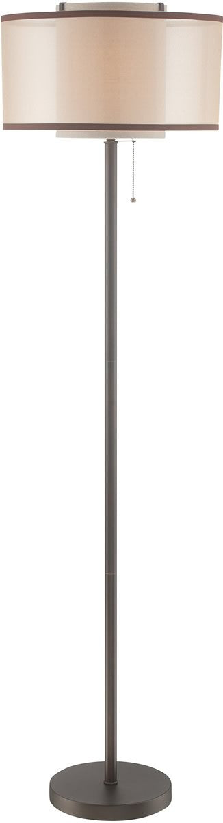 "65""H Fabrizio 1-light Floor Lamp  D.brz/outer Gold Organza/inner Linen"