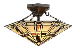 Mircea 2-light Semi-flush Mount Dark Bronze