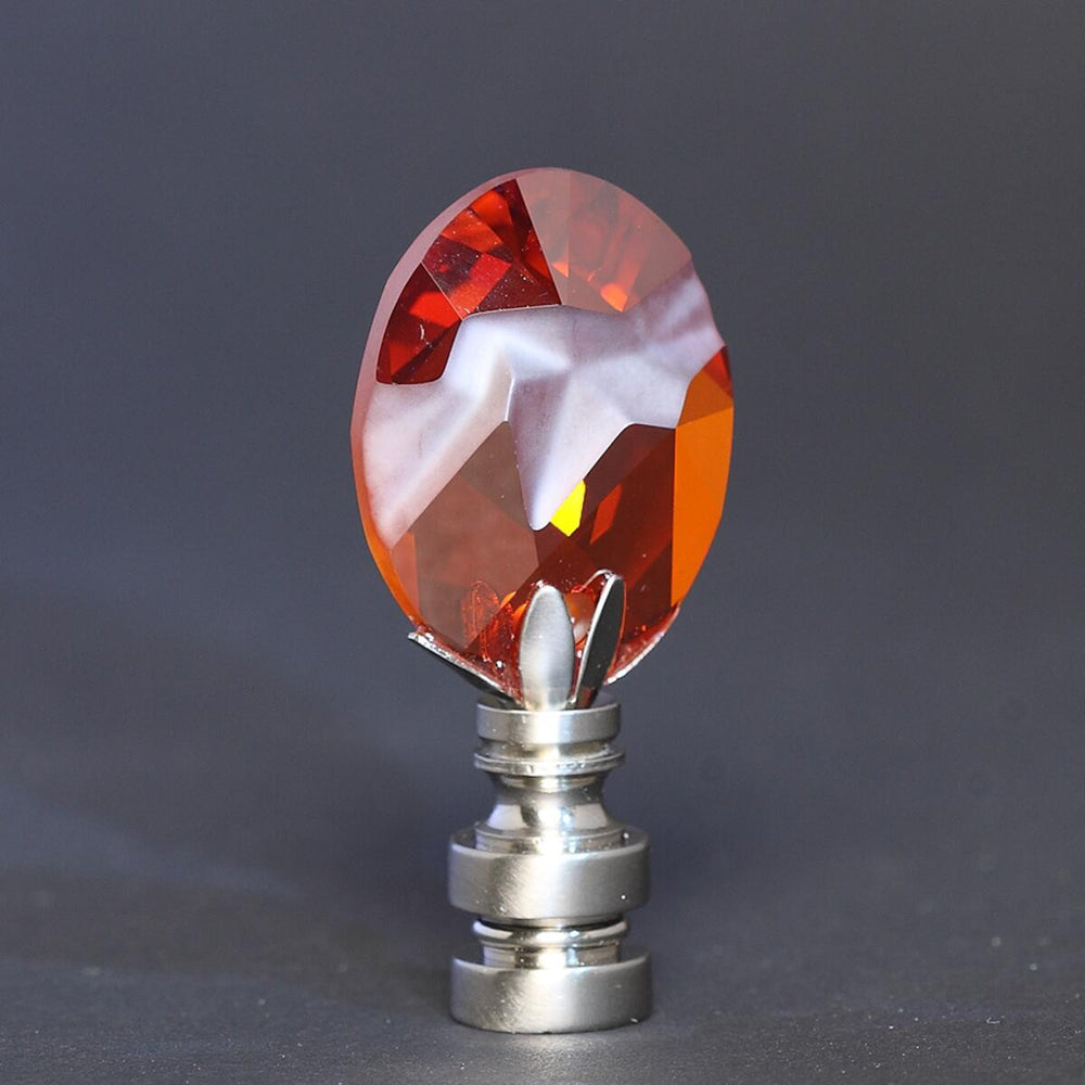 "2""H Swarvoski Crystal Magma Red Finial Nickel Base"