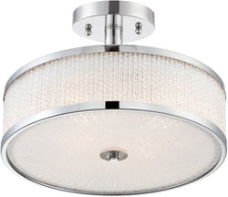 Lite Source 3-light Semi-flush Mount  Chrome/glass Rod X112pcs
