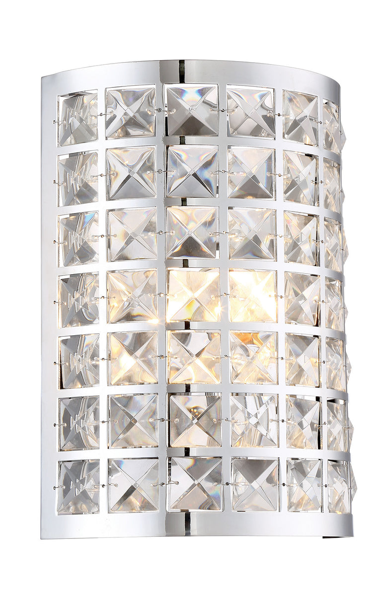 "9""W Damond 1-light Sconce Chrome With Crystal Deco."