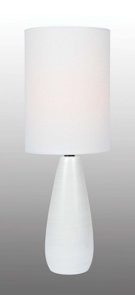 "17""H Quatro 1-light Mini Table Lamp Brushed White"