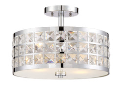 Lite Source Damond 2-light Semi-flush Mount Chrome With Crystal Deco.