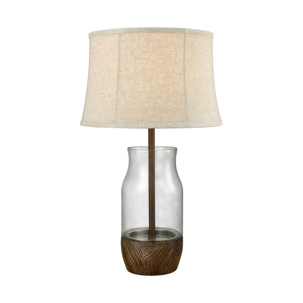 "28""H 1-Light Camarillo Outdoor Table Lamp Wood Stain/Clear"