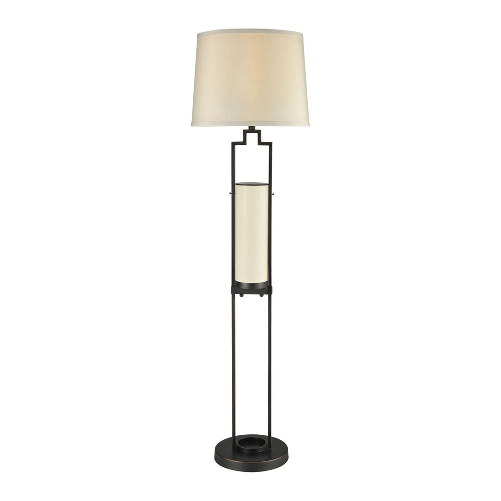 1-Light San Rafael Outdoor Floor Lamp Oil Rubbed Bronze/Milk Glass