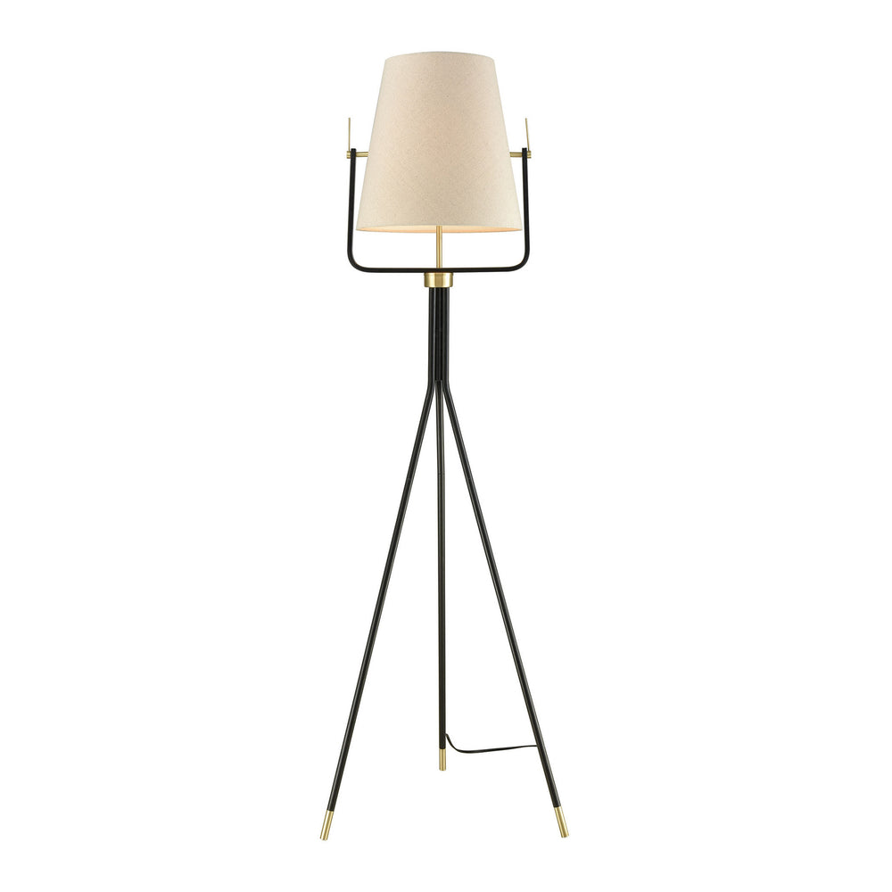 Cromwell 1-Light Tripod Floor Lamp Black/Brass