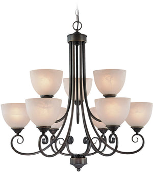 "31""W Raleigh 9-Light Chandelier Old Bronze"