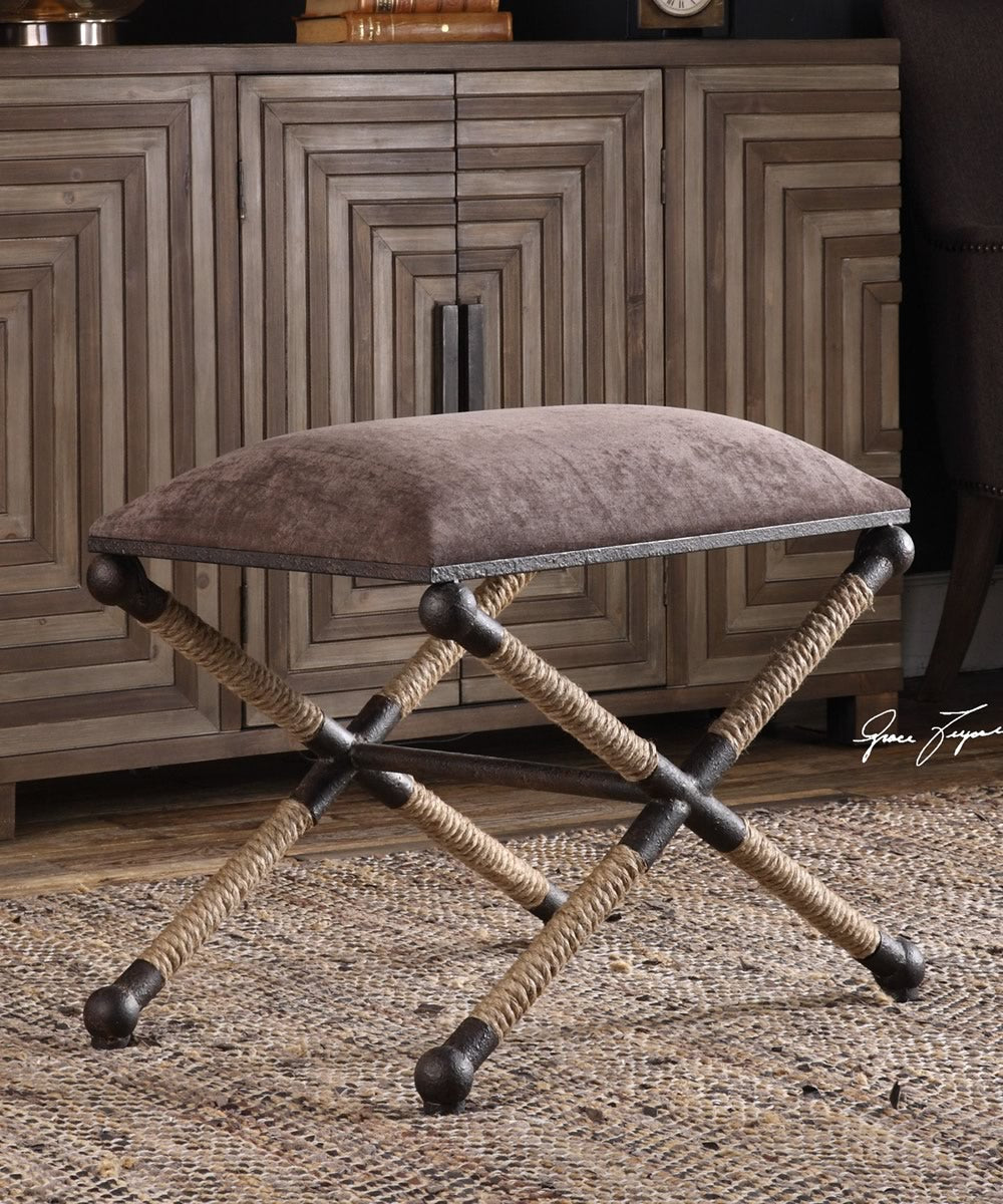 "20""H Evert Taupe Brown Accent Stool"