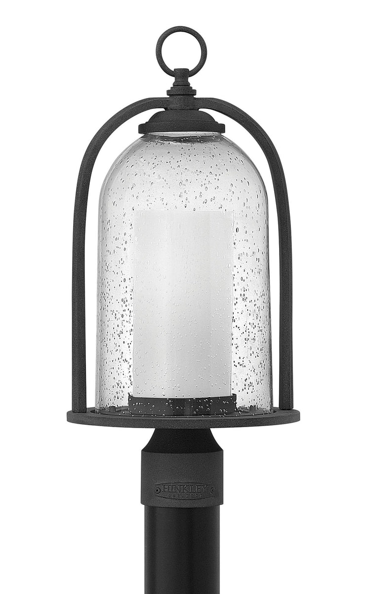 "19""H Quincy 1-Light Outdoor Pier Post Light in Aged Zinc"
