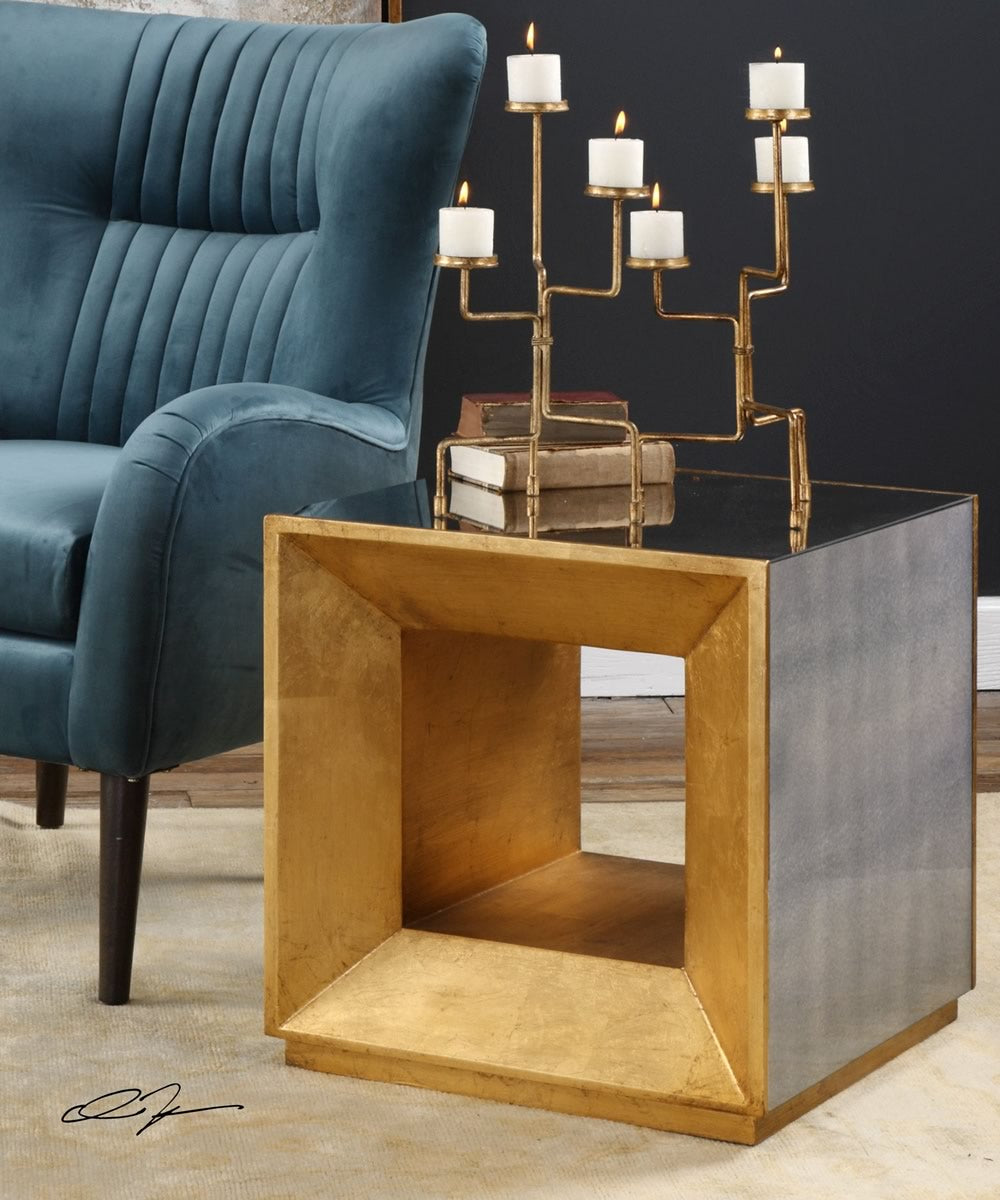 "22""H Flair Gold Cube Table"
