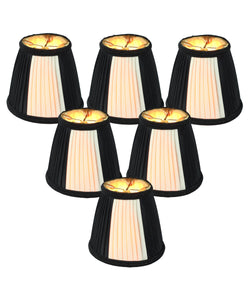 Set of 6 Black Egg Chandelier Clip-On Lampshade 3x5x5