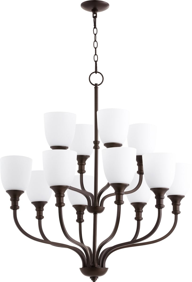 "34""W Richmond 12-light Chandelier Oiled Bronze"