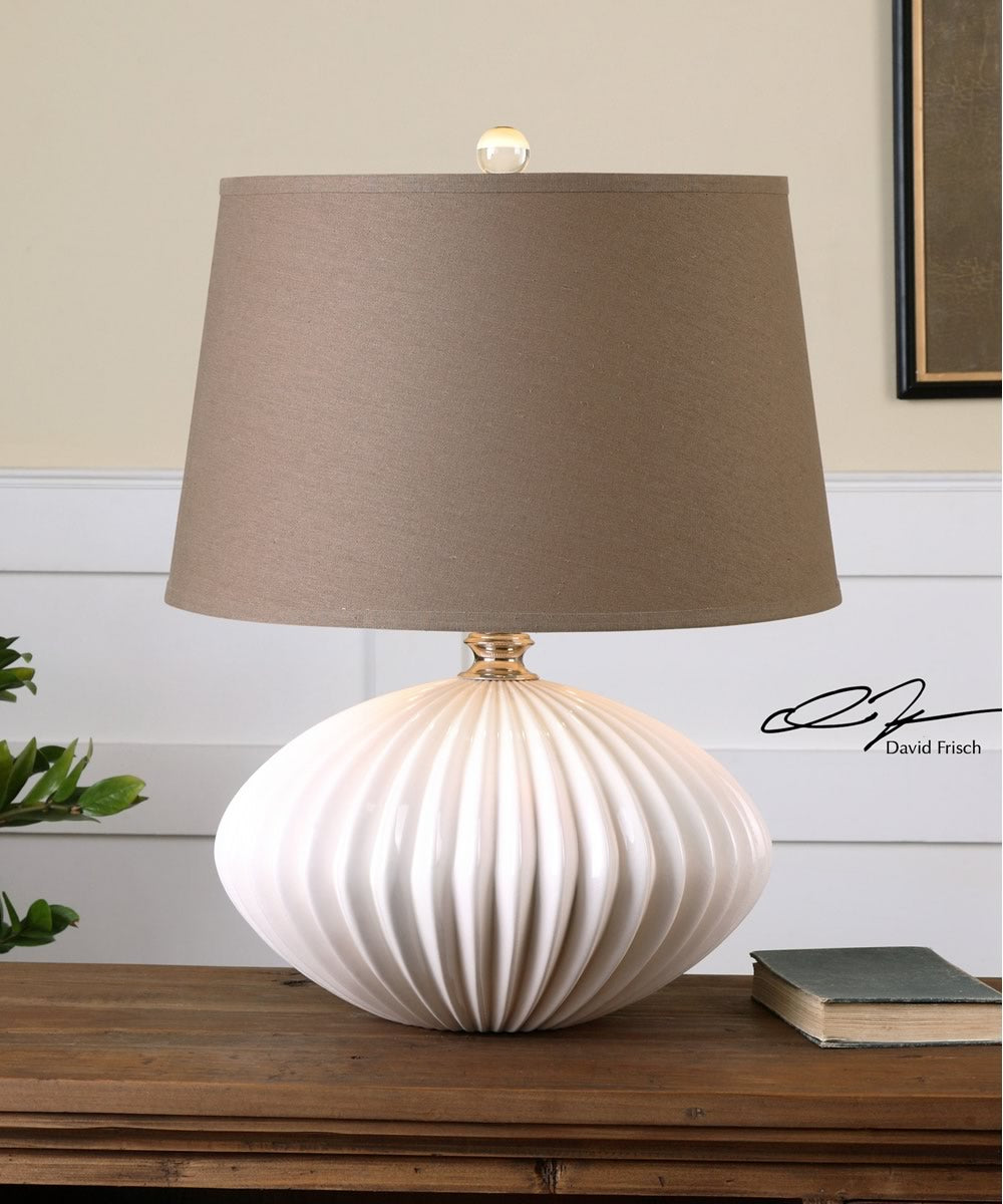 "25""H Bariano Gloss White Table Lamp"