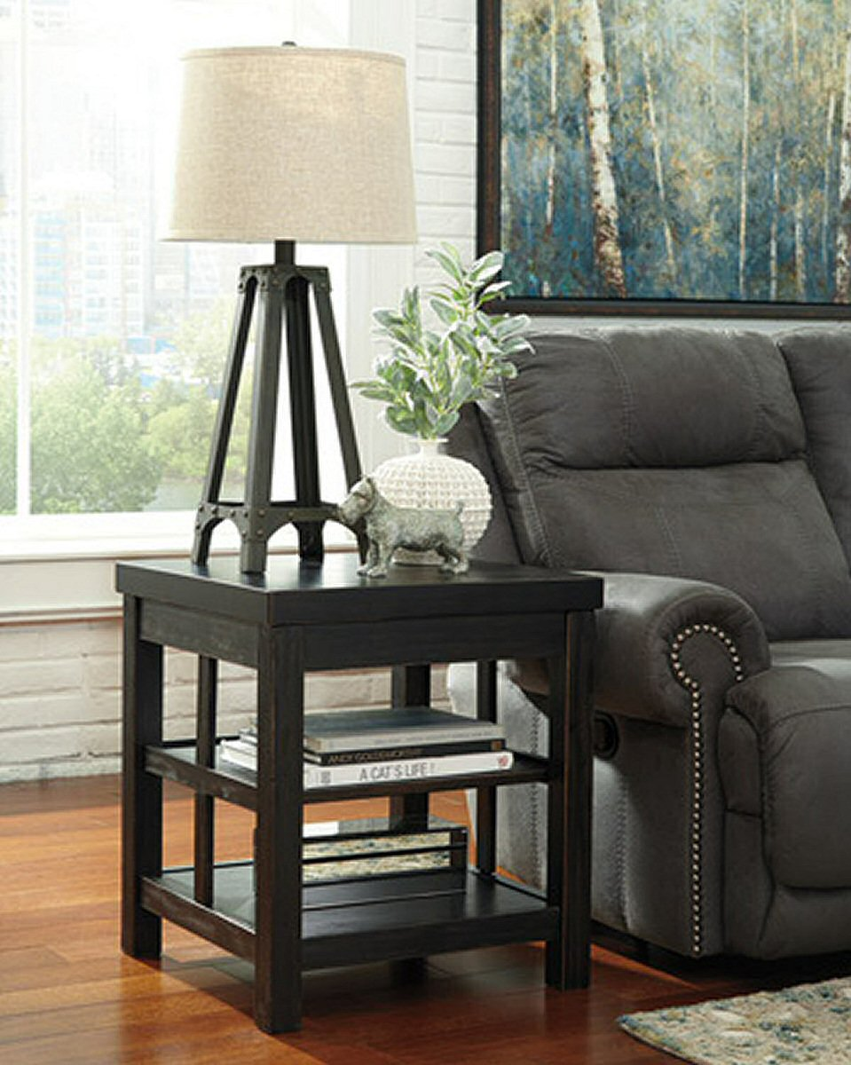 "25""H Gavelston Square End Table Rubbed Black"