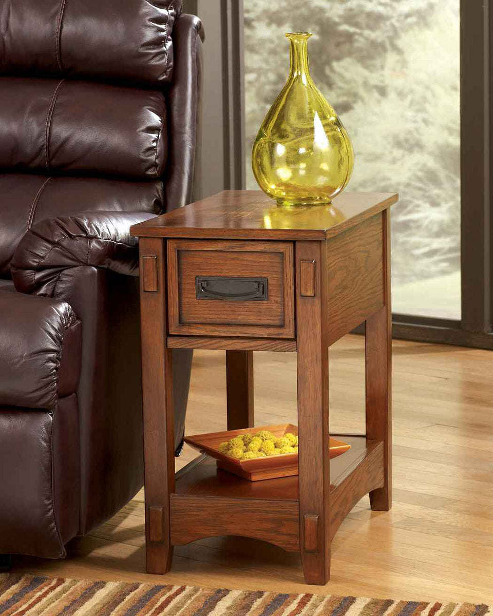 "23""H Cross Island Chairside Table Brown"