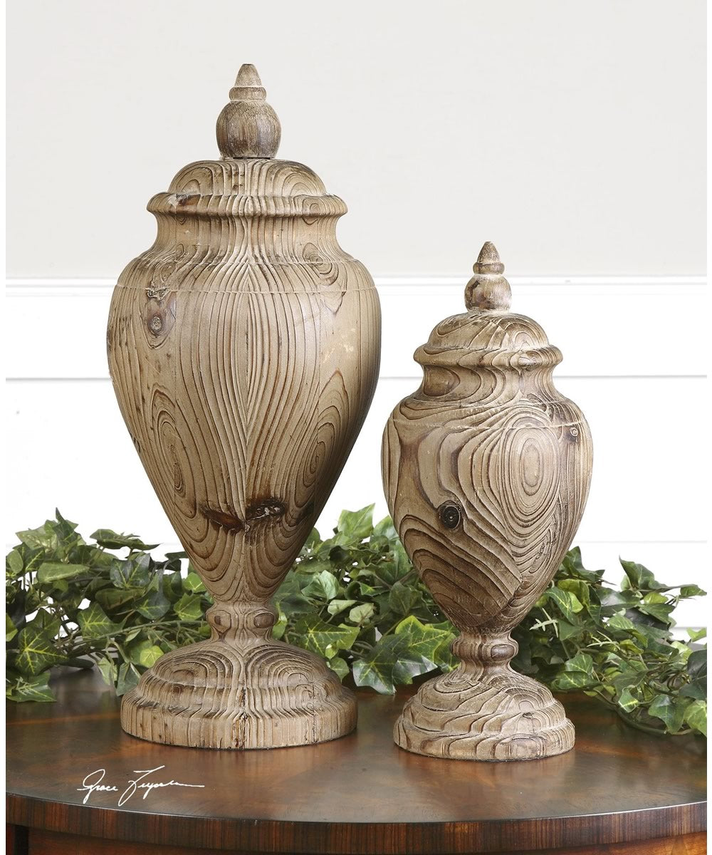 "18""H Brisco Carved Wood Finials Set of 2"