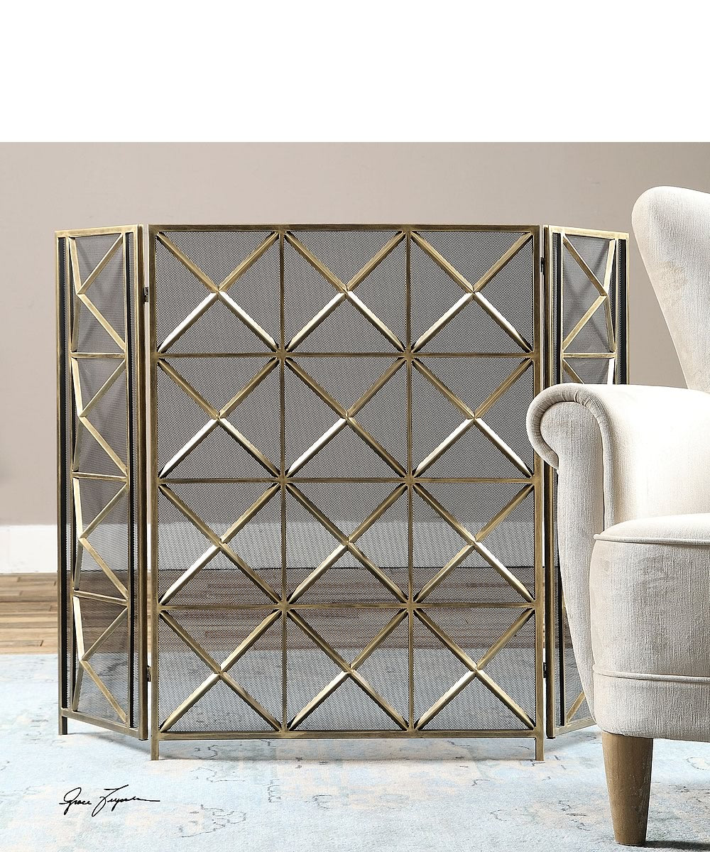 "35""H Akiva Champagne Fireplace Screen"