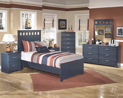 Leo Two Drawer Night Stand Blue