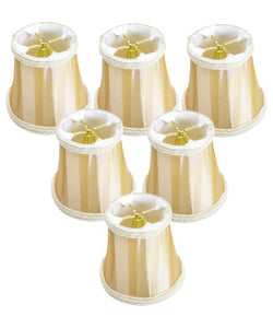 "5""W x 4""H Set of 6 Beige/Eggshell Striped Chandelier Clip-On Premium  Lampshade"