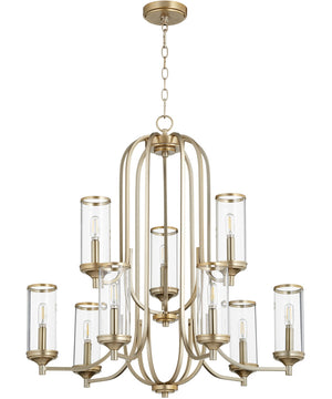 "30""W Collins 9-light Chandelier Aged Brass"