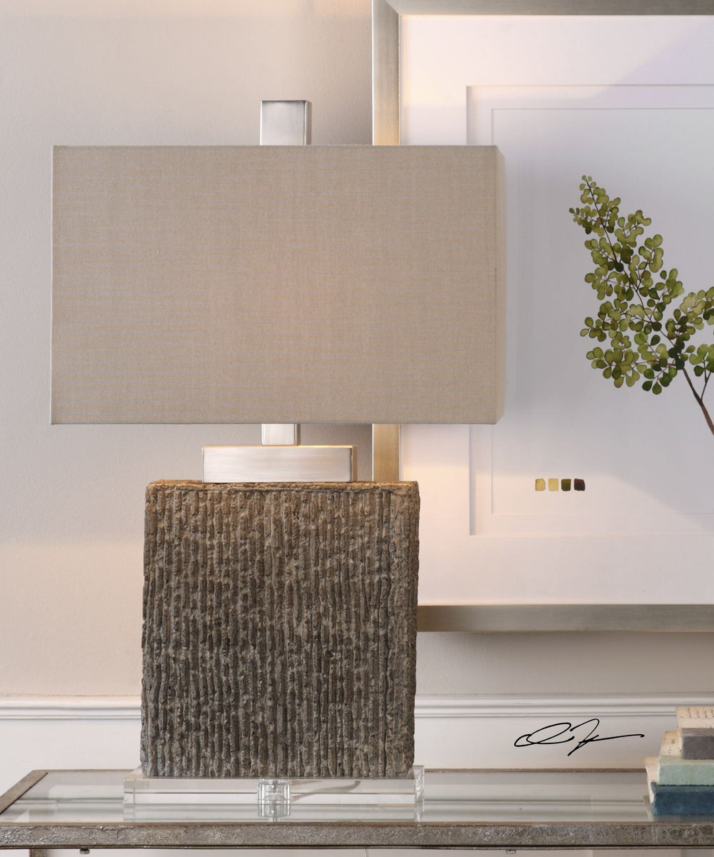 "28""H Demetrio Textured Table Lamp"