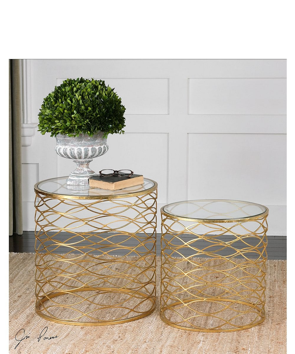 "20""H Zoa Gold Accent Tables Set of 2"