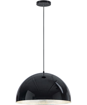 "24""W Hemisphere LED 1-Light Pendant Gloss Black / Aluminum"