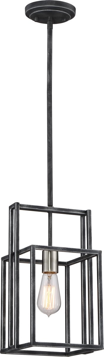 "8""W Lake 1-Light Pendant Iron Black / Brushed Nickel Accents"