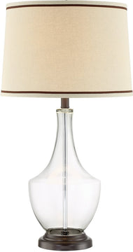 "30""H Caroline 1-light Table Lamp Dark Bronze/Clear Glass"