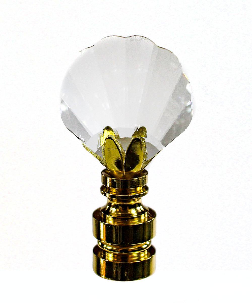 "Swarovski Crystal Sea Shell Finial Brass 2.13""h"