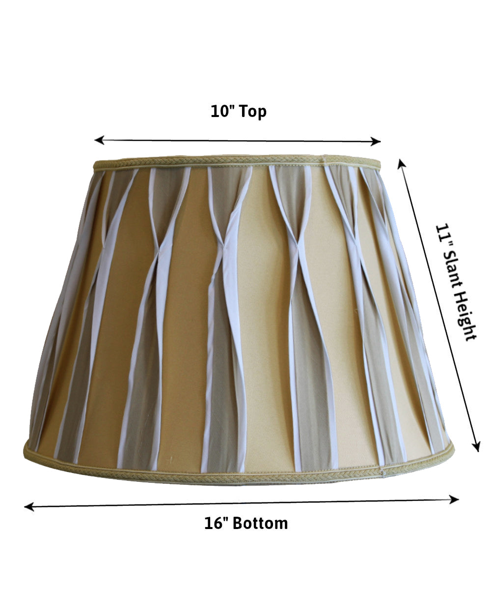 "16""W x 11""H Beige/White Pinched Pleat Shantung Lampshade"