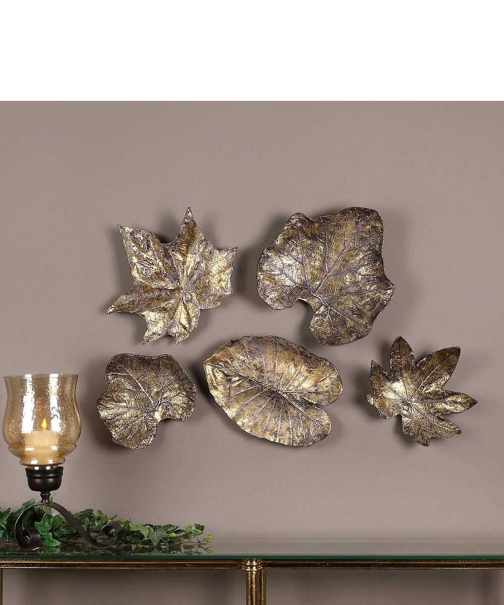 Bronze Leaves Wall Art Set of 5