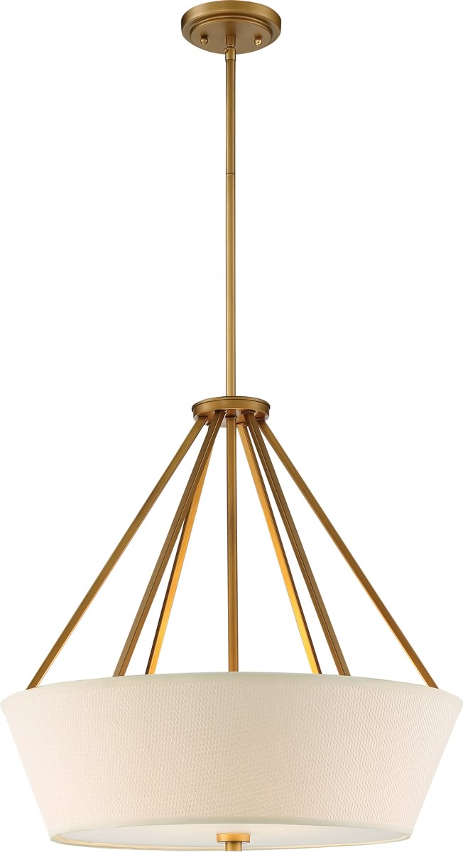 "22""W Seneca 4-Light Pendant Natural Brass"