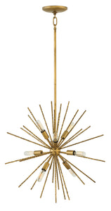 Tryst 8-Light Stem Hung Pendant in Burnished Gold