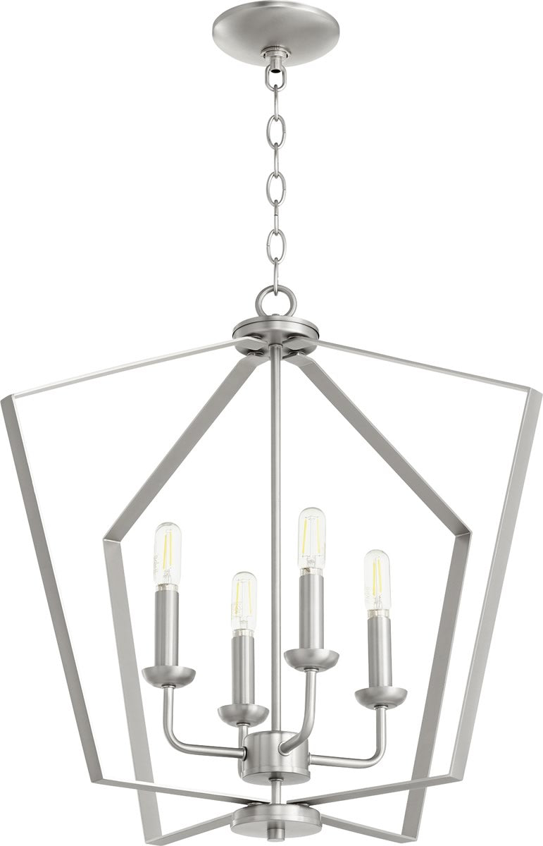 "23""W 4-light Entry Foyer Hall Chandelier Satin Nickel"