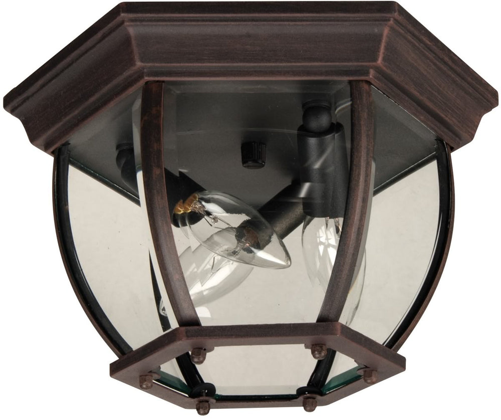 Bent Glass 3-Light Outdoor Flush Mount Rust