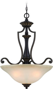 0-011323>Josephine 3-Light Pendant Light Antique Bronze/Gold Accents