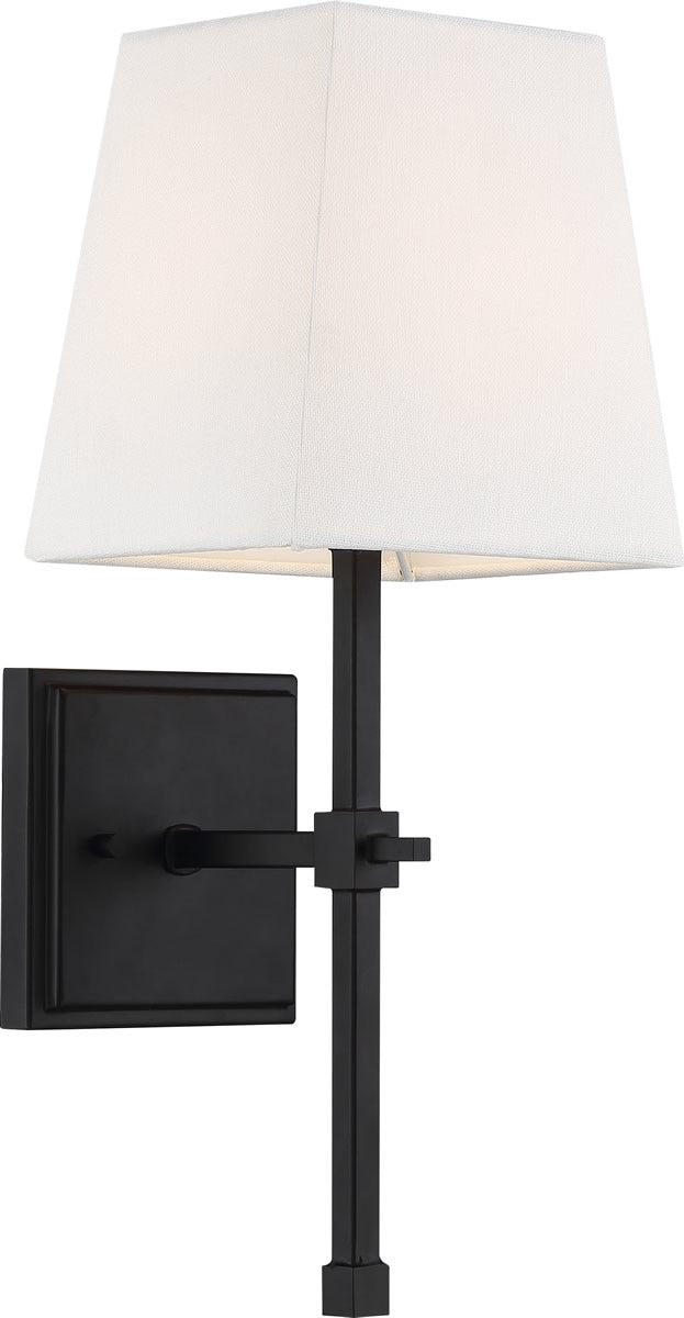 "6""W Highline 1-Light Vanity & Wall Aged Bronze / White Fabric"