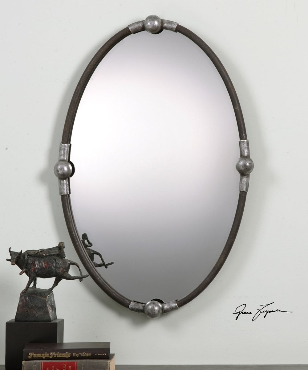"32""H x 22""W Carrick Black Oval Mirror"
