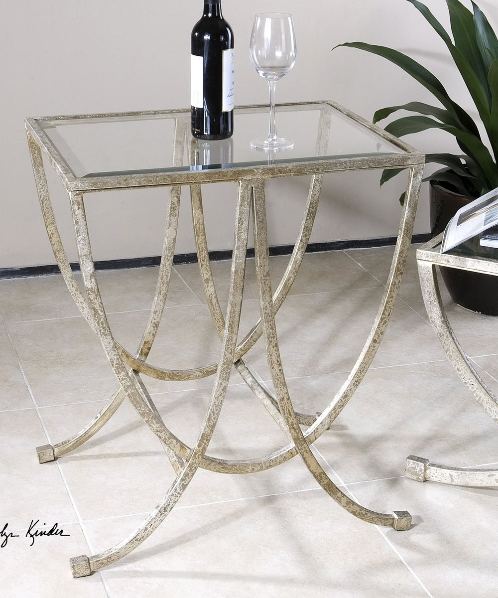 "27""H Marta Antiqued Silver Side Table"